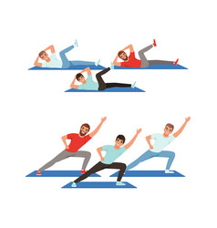 Young male doing abdominal crunches and stretching vector