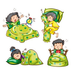 Boy and Girl in bed vector image