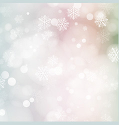 christmas card with glowing snowflakes and bokeh vector image