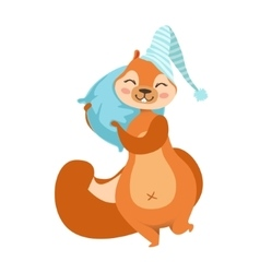 Red Squirrel With A Pillow Going To Sleep vector image