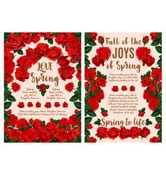rose flower greeting card for spring season design vector image