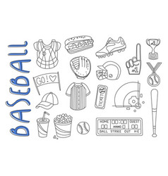 set of sport related icons in doodle style vector image