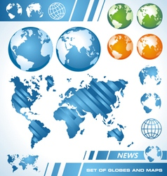 world maps and globes vector image vector image