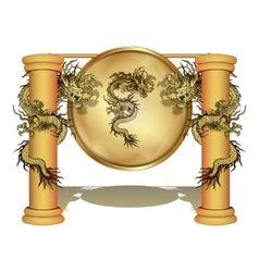 Chinese dragon on the pole with a disk vector image vector image