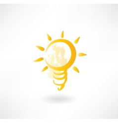 light bulb grunge icon vector image