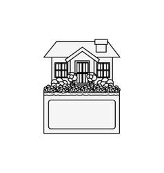 Silhouette small house design with label vector