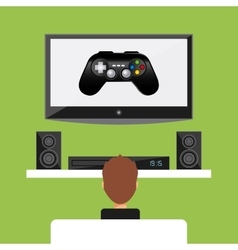 tv speaker boy and control icon graphic vector image