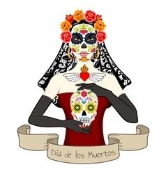 Woman with Dia Los Muertos make-up vector image