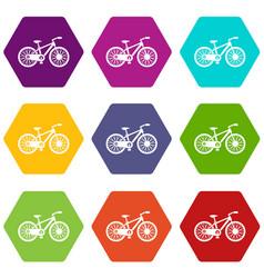 bicycle icon set color hexahedron vector image