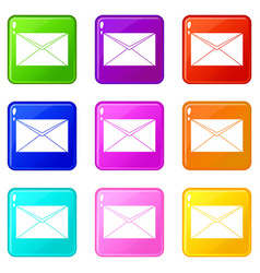 closed envelope icons 9 set vector image