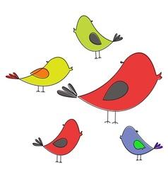 Five colored birds vector image vector image