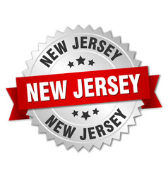 New jersey round silver badge with red ribbon vector