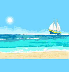 summer sea view with sailboat background vector image