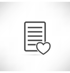 Wish List Icon Heart vector image