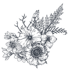 Floral composition bouquet with hand drawn vector
