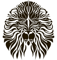 Lion head in black vector image