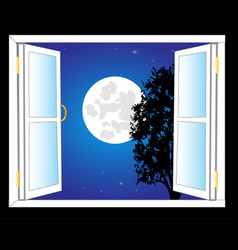 open window and moon night vector image vector image
