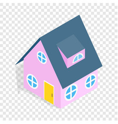 pink house isometric icon vector image