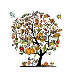 thanksgiving day art tree for your design vector image