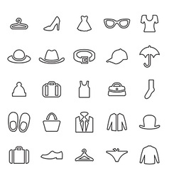 25 outline universal clothes icons vector image