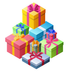 a lot gift boxes different sizes and colors vector image