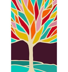 Abstract tree with colorful branches vector