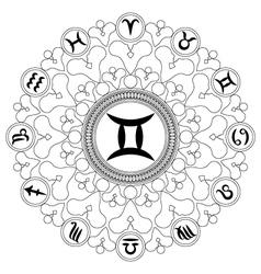 Adult coloring book mandala zodiac symbol gemini vector