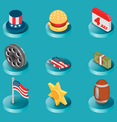 america color isometric icons vector image