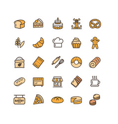 bakery sign color thin line icon set vector image
