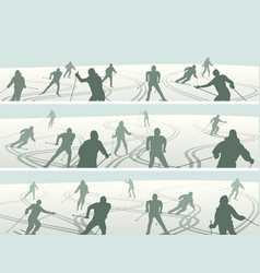 banners skiers with traces skis vector image