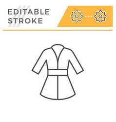 bathrobe editable stroke line icon vector image