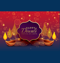 Beautiful diwali greeting background with diya vector