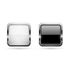 Black and white buttons with chrome frame square vector