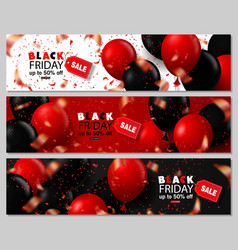 Black friday sale horizontal banners set flying vector