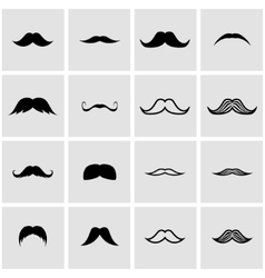 black moustaches icon set vector image