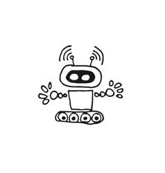 Black robot cyborg icon vector