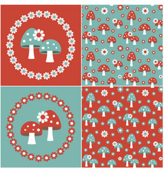 blue red seamless mushroom patterns with flower vector image