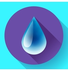 Blue shiny water drop icon Flat design style vector image
