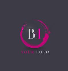 bm letter logo circular purple splash brush vector image vector image