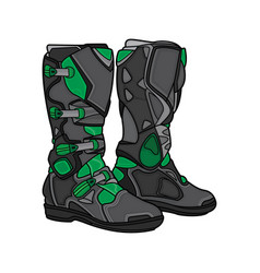 Boots motocross black and green vector