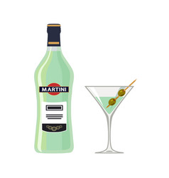 bottle martini with glass isolated on white vector image