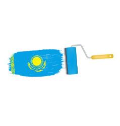 Brush stroke with kazakhstan national flag vector