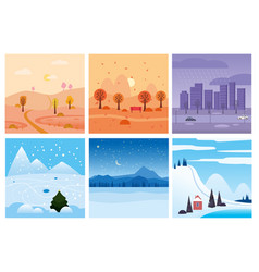 calendar set landscape winter autumn in flat vector image