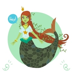 cartoon flat cute Mermaid princess vector image