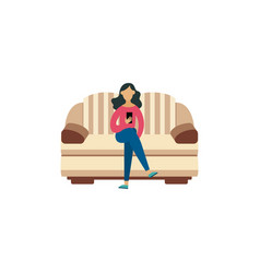 cartoon woman sitting on striped yellow and brown vector image