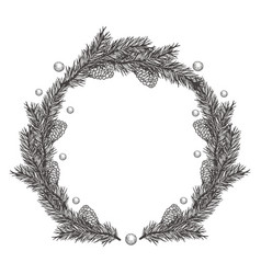 Christmas hand drawn wreath vector