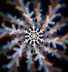 Christmas snowflake sign with aberrations vector image