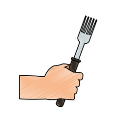 Color pencil cartoon hand holding a fork ready to vector