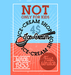 Color vintage ice-cream banner vector