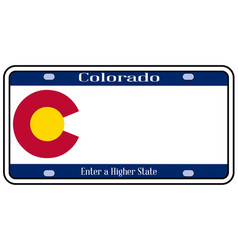 Colorado state license plate vector